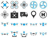 Air drone and quadcopter tool icons Stock Photography