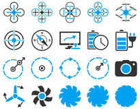 Air drone and quadcopter tool icons Royalty Free Stock Photos