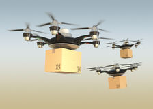 Air drones carrying cardboard boxes in sunset sky.