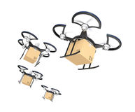 Air drones with carton package in the sky Stock Photos