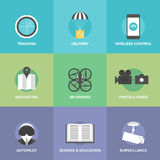 Air drones and UAV flat icons Royalty Free Stock Photography