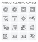 Air duct cleaning. Air duct pipe and cleaning work icon set Royalty Free Stock Photos