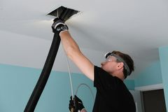 Free Air Duct Cleaning, Drill, Ductwork, Man, Hvac Royalty Free Stock Photography - 122152337