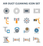 Air duct cleaning. Air duct pipe cleaning vector icon set Stock Photography