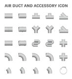 Air Duct Icon. Vector icon of air duct and accessory for air conditioning or HVAC system Stock Images