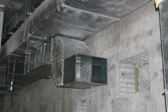Installed rectangle air duct system. Air duct system with installed rectangle and circle air duct Stock Photos