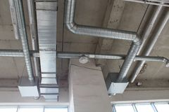 Installed rectangle air duct system. Air duct system with installed rectangle and circle air duct Royalty Free Stock Images