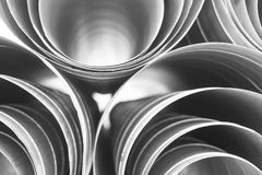 Air ducts round different diameter on white isolated background, front and back background blurred stock photos