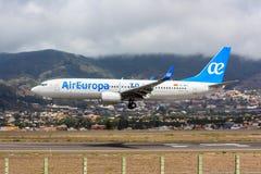 Air Europa Boeing 737 przy Tenerife zdjęcie royalty free