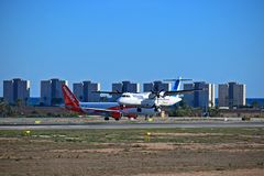 Air Europa Passenger Plane And Easyjet At Alicante Airport royalty free stock photos