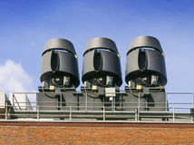 Air exhaust systems on roof top Royalty Free Stock Photo