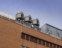 Air exhaust systems on roof top Stock Photo