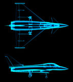 Air fighter x-ray. On black. 3d rendering Stock Images