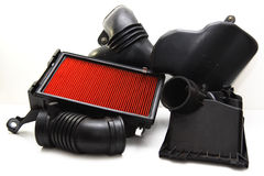 Air Filter. And car intake airbox tube Stock Image