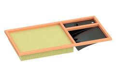 Air filter for car, 3D rendering Royalty Free Stock Photos