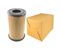 Air filter car and paper box isolated on white Stock Photography