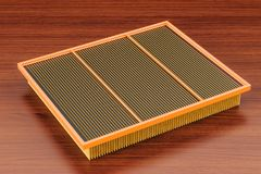 Air filter for car on the wooden table. 3D rendering. Air filter for car on the wooden table. 3D Royalty Free Stock Photos