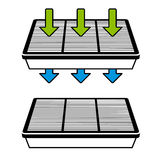 Air filter flow symbols Stock Photo