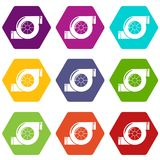 Air filter icons set 9 vector. Air filter icons 9 set coloful isolated on white for web Royalty Free Stock Image