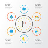 Air Flat Icons Set. Collection Of Banner, Rain, Moon And Other Elements. Also Includes Symbols Such As Drop, Bow, Drip. Air Flat Icons Set. Collection Of Banner Stock Images