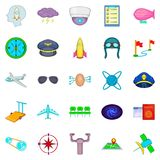 Air flight icons set, cartoon style. Air flight icons set. Cartoon set of 25 air flight vector icons for web isolated on white background Stock Images
