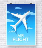 Air flight plane with house home illustration concept on brick wall Stock Photo