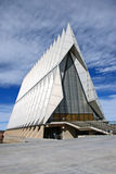Air Force Academy Chapel. With world renown architectural design, the chapel of the United States Air Force Academy stands majestic against the Rocky Mountain royalty free stock image