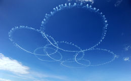 Air force acrobatic team. Airshow at blue impulse of japan Stock Photography