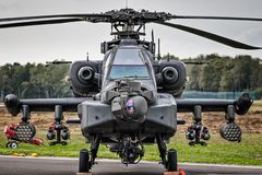 KLEINE BROGEL, BELGIUM - SEP 8, military Apache attack helicopter stock photo