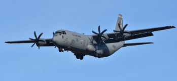Air Force C-130 Hercules. February 16, 2018; Ramstein, Germany: A U. S. Air Force C-130 Hercules cargo plane operated by the 86th Airlift Wing out of Ramstein royalty free stock photo