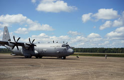 Air Force cargo plane readies for take off Royalty Free Stock Photography