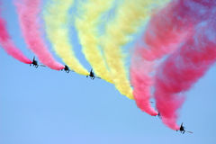 Air Force demoteam. Showing some coloured smoke Stock Photography