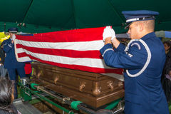 Air Force funeral flag folding Stock Image