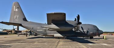 Air Force HC-130J Combat King II. Moody, Georgia, USA - October 27, 2017: A U.S. Air Force HC-130J Combat King II based on the C-130 Hercules airframe. This HC Royalty Free Stock Image