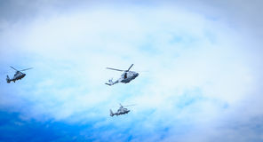 Air Force helicopters overflies the French capital Stock Photography