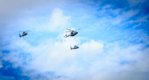Air Force helicopters overflies the French capital Royalty Free Stock Images