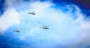 Air Force helicopters overflies the French capital Royalty Free Stock Image