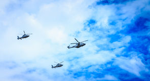 Air Force helicopters overflies the French capital Stock Photo
