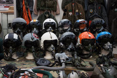Air force helmets at Militalia 2013 in Milan, Italy Stock Photo