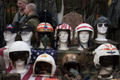 Air force helmets at Militalia 2013 in Milan, Italy Royalty Free Stock Photography