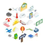 Air force icons set, isometric style stock illustration