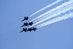 Air-force Jets. Six air-force jets on the air show Royalty Free Stock Image