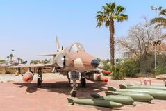Air Force Kfir C7 fighter jet. Hatzerim, Israel -  April 27, 2015: Israel Air Force Kfir C7 fighter jet on display in the Israeli Air Force Museum. Kfir is the Royalty Free Stock Image