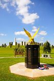 Air force monument, National Memorial Arboretum. Royal Auxiliary Air Force monument with the armed forces memorial to the rear, National Memorial Arboretum Stock Photography