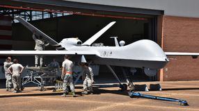 Air Force MQ-9 Predator Drone. Columbus AFB, Mississippi - April 20, 2018: An Air Force MQ-9 Predator drone undergoing maintenance in a hangar at Columbus Air royalty free stock photography