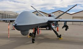 Air Force MQ-9 Reaper Drone. Tucson, AZ, USA - March 23, 2019: An Air Force MQ-9 Reaper drone from the 214th Attack Group of the 162nd Wing, on the runway at royalty free stock photo