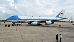 Air Force One. Waits on the tarmac at Don Muang International Airport as US President Barack Obama begins a historic tour of Southeast Asia on November 18, 2012 Royalty Free Stock Photography