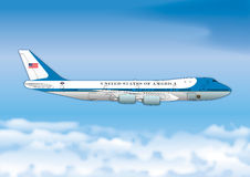 Air Force One, Boeing 747, USA przedstawicielstwa Prezydencki samolot Fotografia Stock