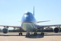 Air Force One die bij de Internationale New York Stad van JFK, New York taxi?en Stock Foto