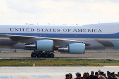 The Air Force One lands at the Athens International Airport Royalty Free Stock Photography